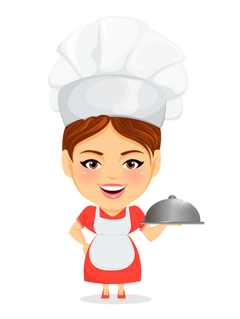 humorous: Cook woman, female master chef. Funny cartoon character with big head holding restaurant cloche. Humorous vector illustration.