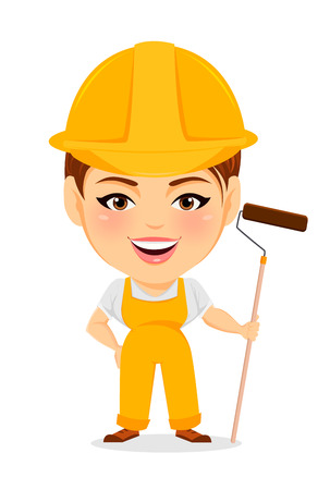 humorous: Builder woman. Funny female worker with big head holding long paint roller. Humorous cartoon character painter. Vector illustration.