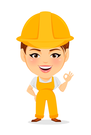 humorous: Builder woman. Funny female worker with big head showing OK gesture. Humorous cartoon character. Vector illustration. Illustration