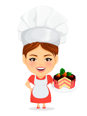 Cook woman, female master chef. Funny cartoon character with big head holding delicious cake with chocolate, cherry and strawberries. Humorous vector illustration.
