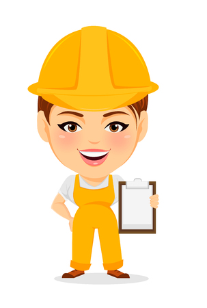 Builder woman. Funny female worker with big head holding clipboard. Humorous cartoon character repairer. Vector illustration.