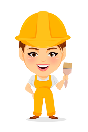 humorous: Builder woman. Funny female worker with big head holding paintbrush. Humorous cartoon character painter. Vector illustration.