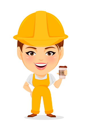 humorous: Builder woman. Funny female worker with big head holding coffee while coffee-break. Humorous cartoon character repairer. Vector illustration.