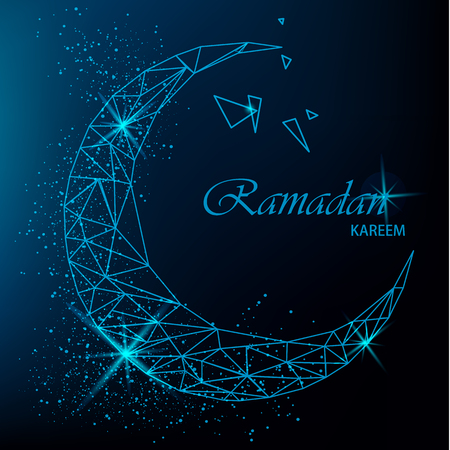 Ramadan Kareem beautiful greeting card with polygonal moon with glitter on blue background. Stock vector Illustration
