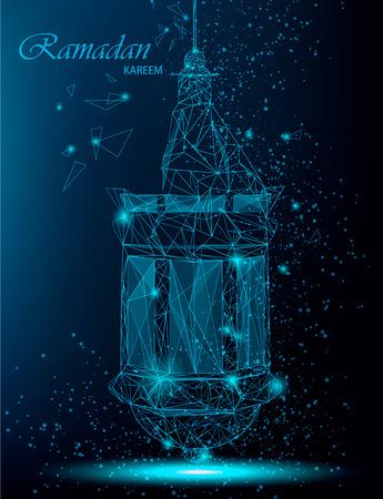斋月卡里姆美丽的贺卡与传统阿拉伯灯笼。多边形艺术上的蓝色背景。股票向量