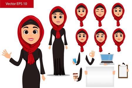 Arabic woman constructor set. Cute cartoon character with various face expressions and things. Stock vector