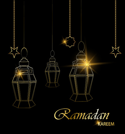 Ramadan beautiful greeting card with hanging lanterns, moon and stars on black background. Muslim traditional holiday. Vector.
