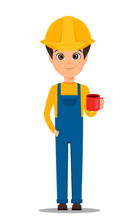 Constructor worker. Handsome builder holding cup of coffee. Cute cartoon character. Vector illustration.