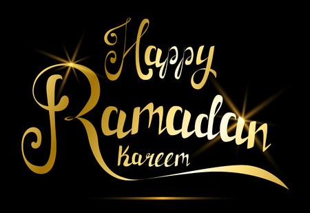 Ramadan kareem beautiful greeting card with traditional arabic happy ramadan kareem greeting card handmade golden lettering for traditional muslim holiday vector illustration m4hsunfo