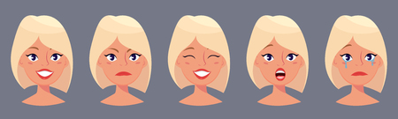 disappoint: Young pretty blond woman, cute faces with different emotions. Cartoon beautiful girl. Avatar business woman. Vector illustration.