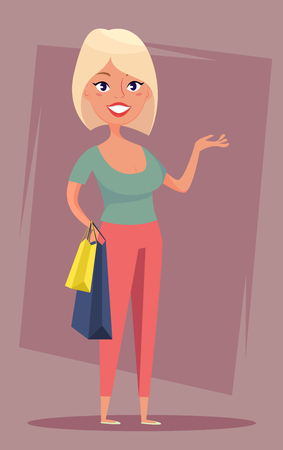 Cheerful blond girl with shopping bags. Sale, buyer, shopper. Funny cartoon character. Stock vector.