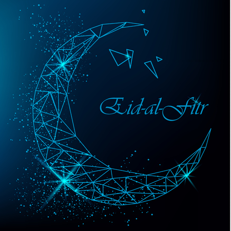 Eid Al Fitr beautiful greeting card with polygonal moon with glitter on blue background. Stock vector Illustration