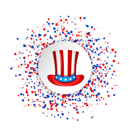 Uncle Sam hat for the 4th of July with circle made of blue, red and white dots. USA Independence day greeting card. Patriotic vector illustration.