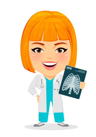 human anatomy: Medical doctor woman with X-ray photograph. Funny cartoon character with big head. Vector illustration. EPS10