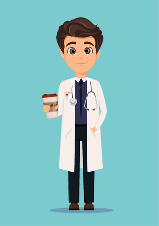 phonendoscope: Medical doctor in white coat and holding cup of coffee. Vector illustration. EPS10