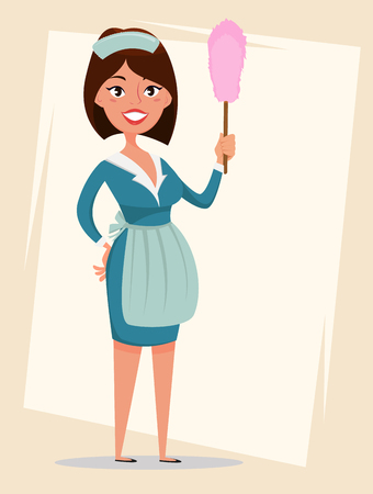 Maid, cute smiling girl dressed in classic French maid clothes, holding dust brush. Cartoon character. Cleaning service advertisement. Vector illustration.