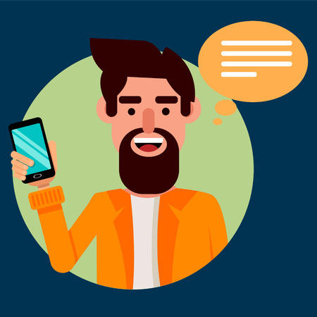 front view: Bearded man with smartphone. Hipster guy communicating with his friends via modern phone. Vector illustration on dark blue background. Front view