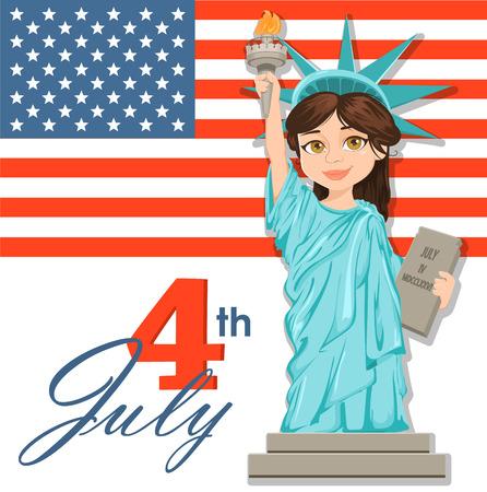 Freiheitsstatue. 4. Juli. Tag der Unabhängigkeit. Nette Karikatur stilisierte Charakter mit USA-Flagge auf Hintergrund. Vector patriotische Illustration für USA Urlaub. Standard-Bild - 80871658