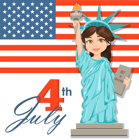 Statue of Liberty. July 4th. Independence Day. Cute cartoon stylized character with USA flag on background. Vector patriotic illustration for USA holidays. Ilustracja
