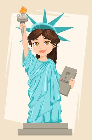 Statue de la Liberté. Le 4 juillet. Le jour de l'indépendance. Caractère stylisé de bande dessinée mignonne. Illustration patriotique vectorielle pour les vacances aux États-Unis. Vecteurs