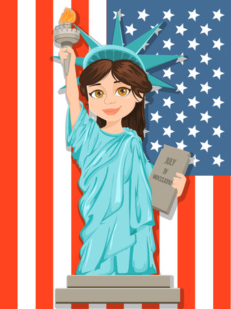 Statue of Liberty. July 4th. Independence Day. Cute cartoon stylized character with USA flag on background. Vector patriotic greeting card for USA holidays. Ilustracja