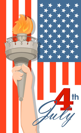 Statue of Liberty hand with torch and flag on background. July 4th. Independence Day. Vector patriotic greeting card for USA holidays. Illustration