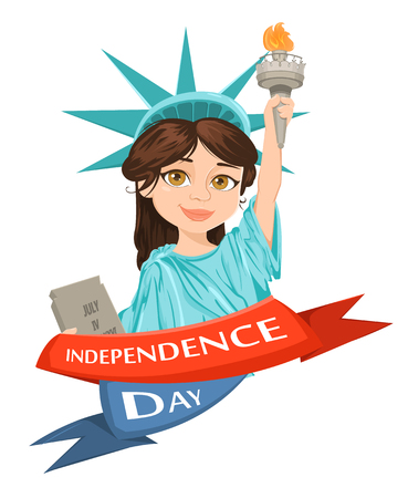 Statue of Liberty. July 4th. Independence Day. Cute cartoon stylized character, greeting card. Vector patriotic illustration for USA holidays. Illustration