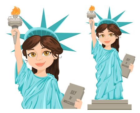 Vrijheidsbeeld. 4 juli. Onafhankelijkheidsdag. Leuk cartoon gestileerd karakter, volledige hoogte en close-up. Vector patriottische illustratie voor de VS vakantie.