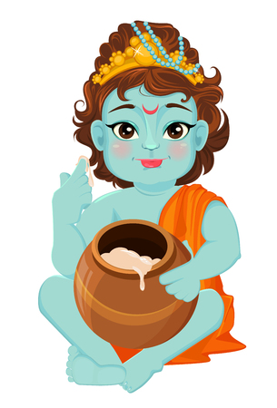 Happy Janmashtami. Celebrating birth of Krishna. Little Krishna tastes butter. Traditional Indian fest. Vector illustration