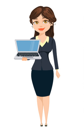 Geschäftsfrau, die mit Laptop steht. Nette Zeichentrickfigur. Vektorillustration lokalisiert auf weißem Hintergrund
