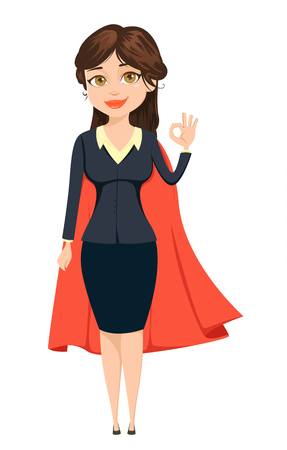 all ok: Businesswoman in a red cloak showing OK sign like super woman. She will manage everything. Cute cartoon character. Vector illustration isolated on white background