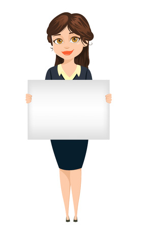 working attire: Businesswoman holding blank banner for advertisement. Cute cartoon character. Vector illustration isolated on white background