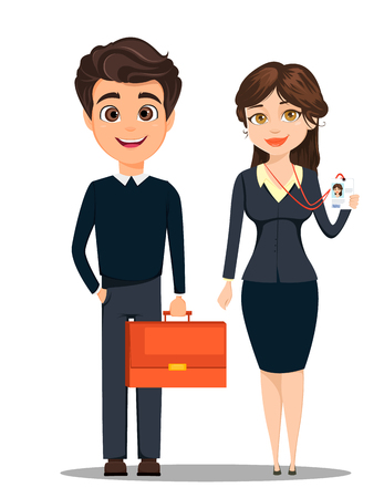 Businessman and businesswoman. Cute cartoon characters. Man with briefcase and woman showing her badge. Vector illustration Vektorové ilustrace