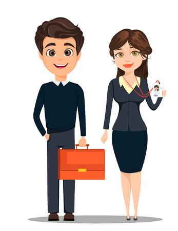 Uomo d'affari e imprenditrice. Personaggi cartoon carino. Uomo con valigetta e donna che mostra il suo badge. Illustrazione vettoriale Vettoriali