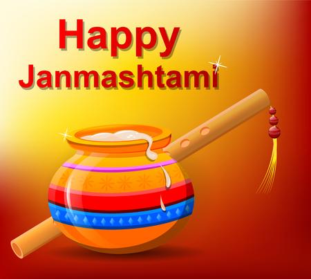 Happy Krishna Janmashtami. Pot with butter and flute on beautiful orange background. Vector illustration.