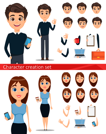 Business man and business woman cartoon characters creation set. Build your personal design - stock vector Illustration