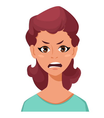 Face expression of a woman - anger. Female emotions. Attractive cartoon character. Vector illustration isolated on white background. Illustration