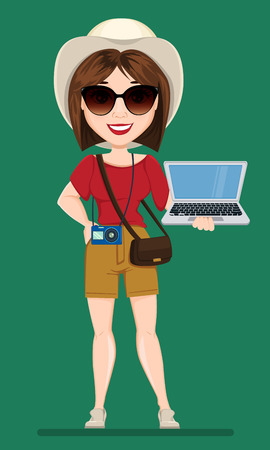 vacation with laptop: Tourist woman, traveler in sunglasses holding laptop. Cute cartoon character. Vector illustration.