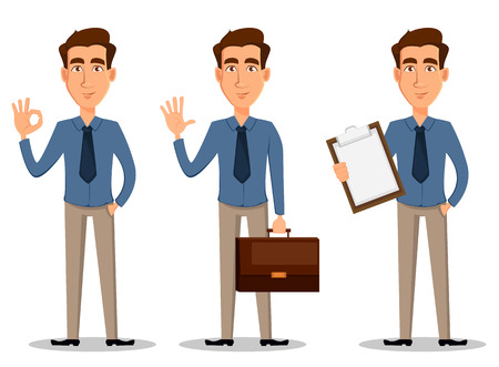 Business man, set of 3 poses isolated on white background. Showing ok sigh, greeting and with clipboard - stock vector