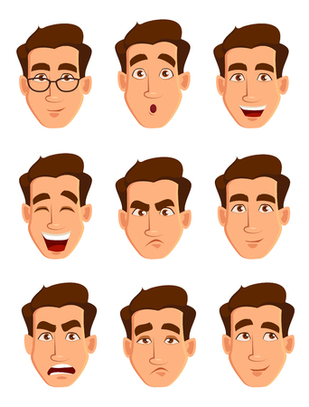 Face expressions of a man.