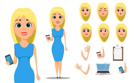 Business woman cartoon character creation set.