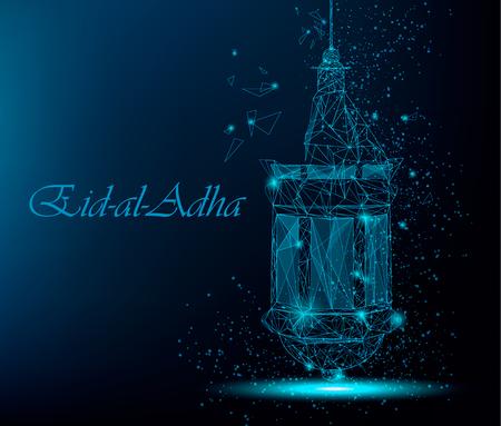 Eid Al Adha beautiful greeting card with traditional Arabic lantern. Polygonal art on blue background. Stock vector Vector Illustration
