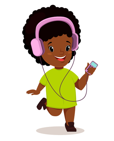 walkman: Little African girl running and listening to the music. Cute cartoon character. Vector.