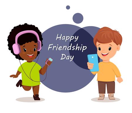 walkman: Happy Friendship day. Smiling girl and boy. Greeting card. Vector illustration. Illustration