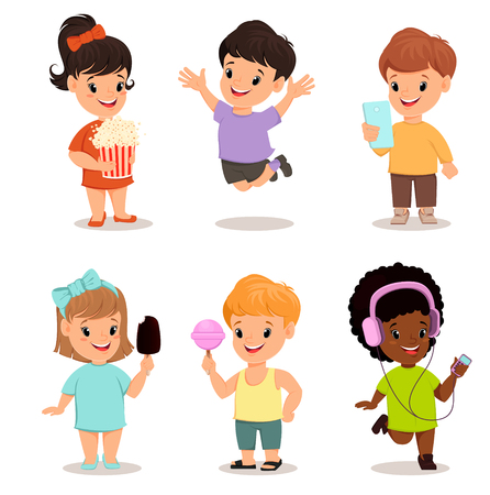 walkman: Children set. Cute kids with popcorn, smartphone, ice cream, sweet candy, walkman, jumping, running, standing. Vector illustration.