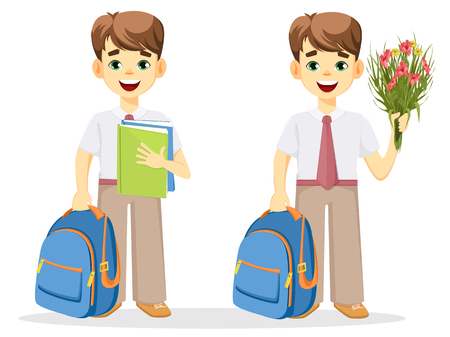 Schoolboy with backpack, textbook and bouquet of flowers. Coming back to school. Cute smiling boy. Cartoon character. Vector illustration.