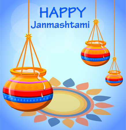 Happy Krishna Janmashtami. Pots with butter on beautiful background. Vector illustration.