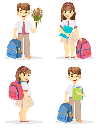 žák: Školák a školačka s batohem. Návrat do školy. Roztomilý usmívající se chlapec a dívka. Kreslené postavy. Sada čtyř vektorových ilustrací.