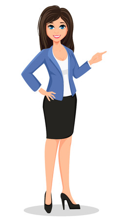smart girl: Business woman in office style clothes showing. Beautiful brunette businesswoman. Cartoon character. Vector illustration isolated on white background Illustration