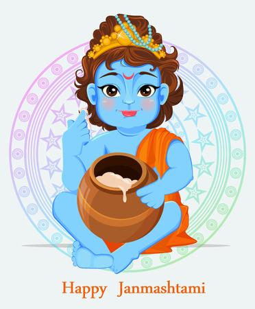 Happy Janmashtami. Celebrating birth of Krishna. Little Krishna tastes butter. Traditional Indian fest. Vector illustration
